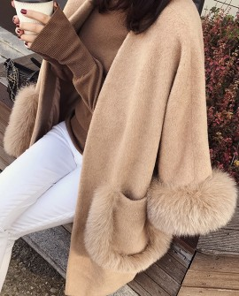 Woolen coat with Fox Fur Trim 0056b