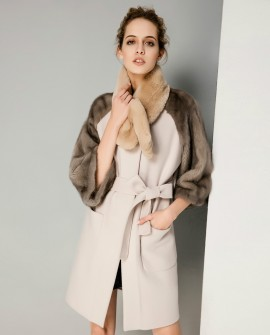 Woolen Coat with Mink Fur Trim