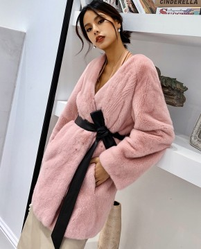 Mink Fur Coat with Leather Belt 0110a
