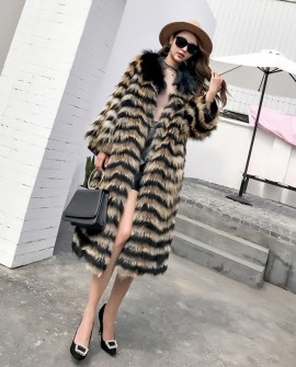 3/4 Length Fox Fur Coat with Cashmere Lining