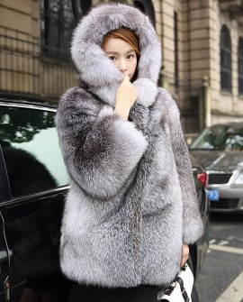 Blue Frost Fox Fur Coat with Hood