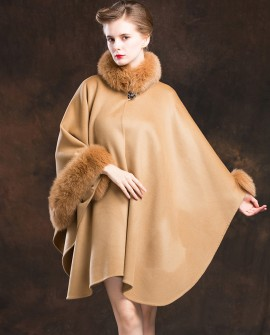 Cashmere Cape with Fox Fur Trim-Camel