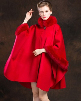 Cashmere Cape with Fox Fur Trim-Red