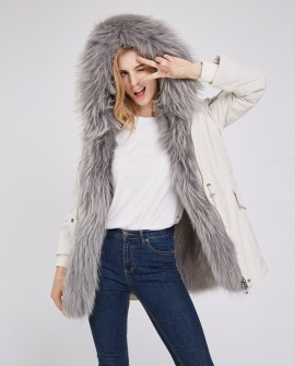 Detachable Fox Fur Lined Hooded Down-filled Parka with Raccoon Fur Trim
