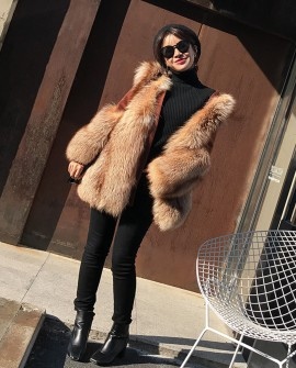 Fox Fur Coat with Double-Sided Wool Trim