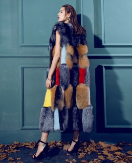 Multicolored Fox Fur Long Vest with Mink Fur Trim