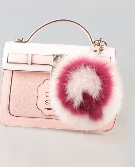 Fox Fur Pompoms Pendant Bag Charm with A-Z Letters