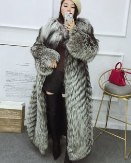Full length Silver Fox Fur Long Coat