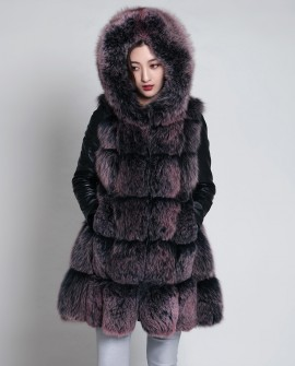 Hooded Fox Fur Coat with Leather Sleeves