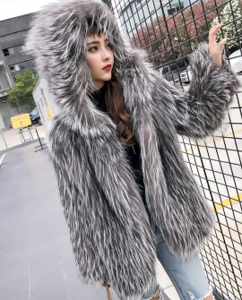 Hooded Knitted Silver Fox Fur Jacket