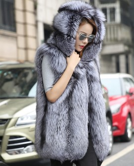 Hooded Silver Fox Fur Vest