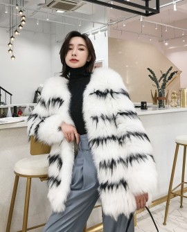 Knitted White Fox Fur Jacket