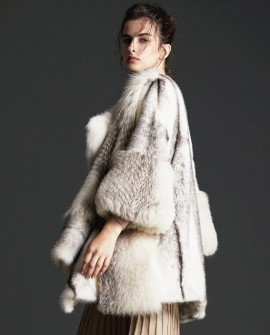 Cross Mink Fur Coat With Fox Fur Trim