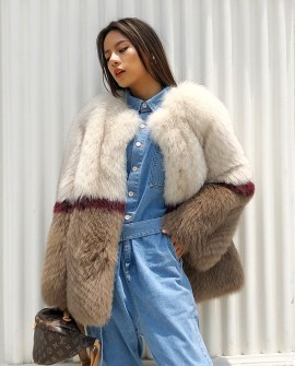 Multicolored Fox Fur Jacket