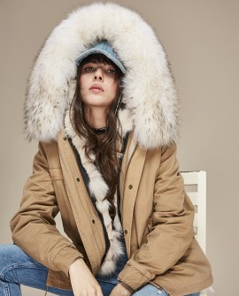 Raccoon Fur Trimmed Hooded Parka with Detachable Fox Fur Liner