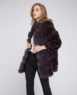 Rex Rabbit Fur Coat with Fox Fur Trim