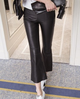 Sheepskin Real Leather Cropped Pants