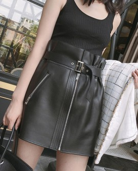 Sheepskin Real Leather Waistbelted Skirt