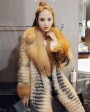 3-4 Length Fox Fur Coat with Cashmere Lining 979c