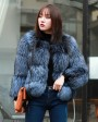 Cropped Silver Fox Fur Jacket in Blue 0005b