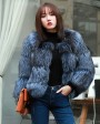 Cropped Silver Fox Fur Jacket in Blue 0005c