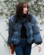 Cropped Silver Fox Fur Jacket in Blue 0005d