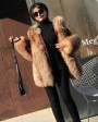 Crystal Fox Fur Coat with Double-Sided Wool Trim 991c