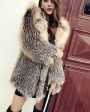 Hooded Fox Fur Knitted Jacket 929d