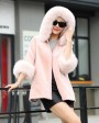 Hooded Shearling Lambskin Jacket with Fox Fur Trim 768 Pink 2