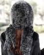 Knitted Fox Fur Shawl with Hood 874 Frost 4