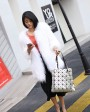 Knitted Raccoon Fur Coat 772 White 1