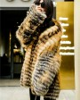 Knitted Red Fox Fur Coat in Golden 0019d