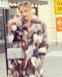Long Length Genuine Multicolor Fox Fur Winter Coat 983b