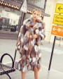 Long Length Genuine Multicolor Fox Fur Winter Coat 983c