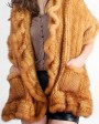 Mink Fur Knitted Shawl, Golden 5