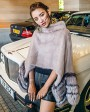 Mink Fur Pullover Poncho with Detachable Silver Fox Fur Cuff 755 Gray 3
