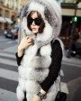 Shadow Blue Frost Fox Fur Vest with Hood 997a