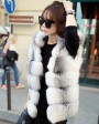 Shadow Blue Frost Fox Fur Vest with Hood 997c