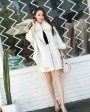 Shearling Lambwool Coat with Fox Fur Collar 735 White 3