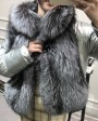 Silver Fox Fur Trimmed Down-filled Cropped Coat Jacket 0023i