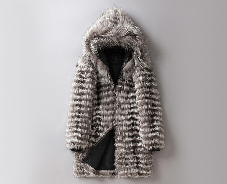 Hooded Men's Silver Fox Fur Coat 0001-1