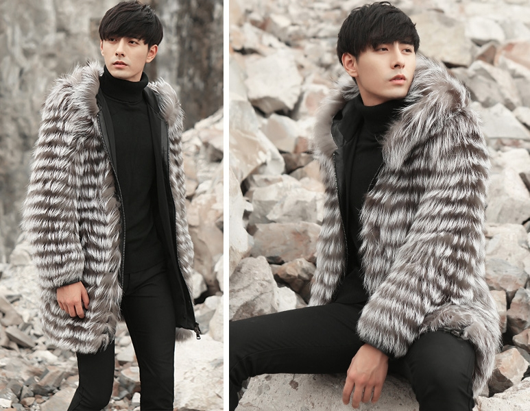 Hooded Men's Silver Fox Fur Coat 0001-6