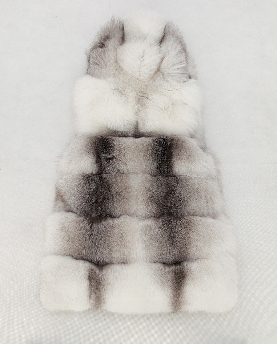 Shadow Blue Frost Fox Fur Hooded Vest 0003-10