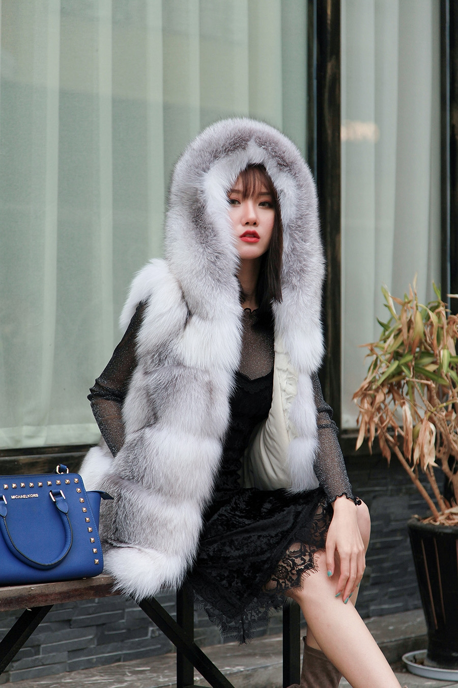 Shadow Blue Frost Fox Fur Hooded Vest 0003-3