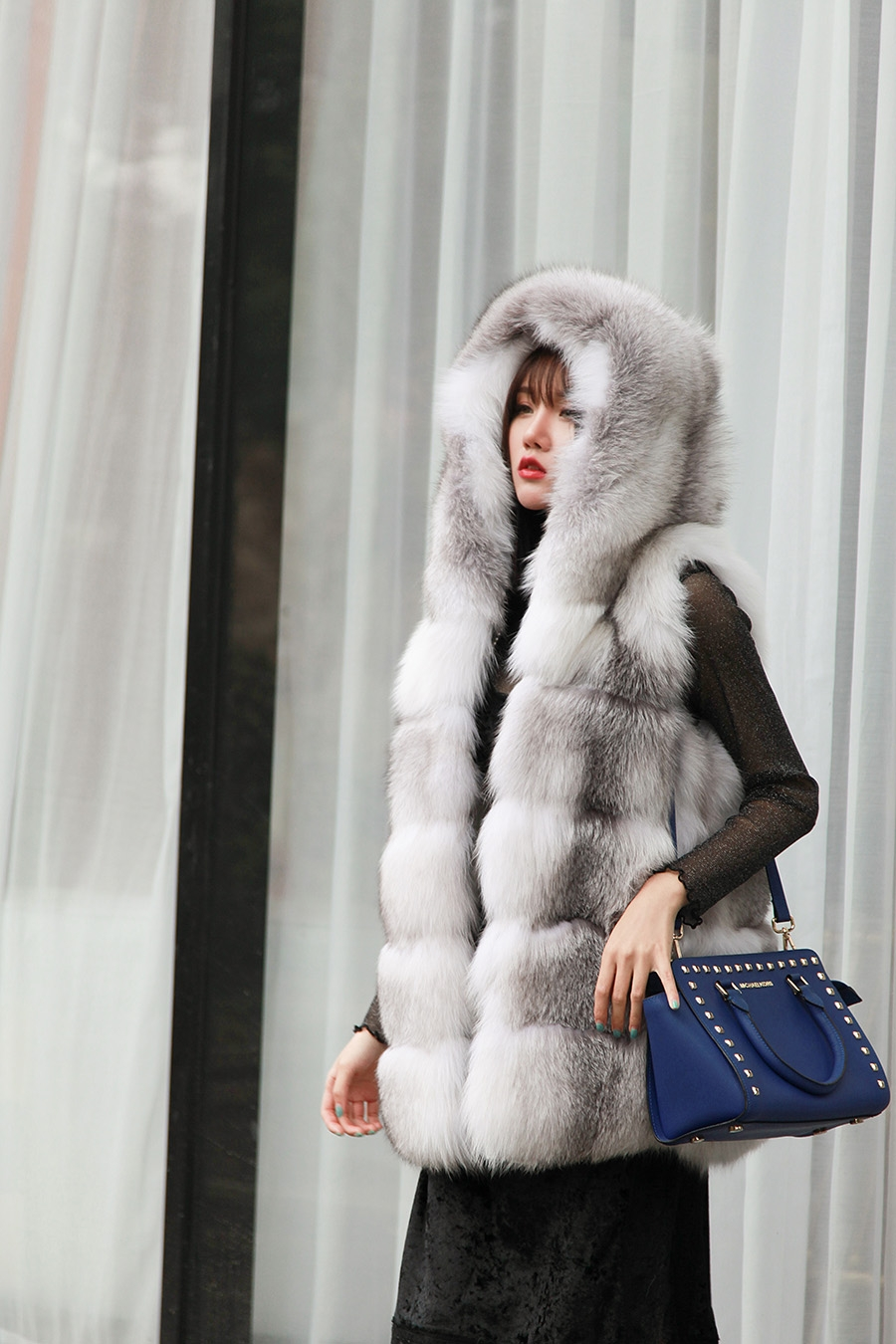 Shadow Blue Frost Fox Fur Hooded Vest 0003-5