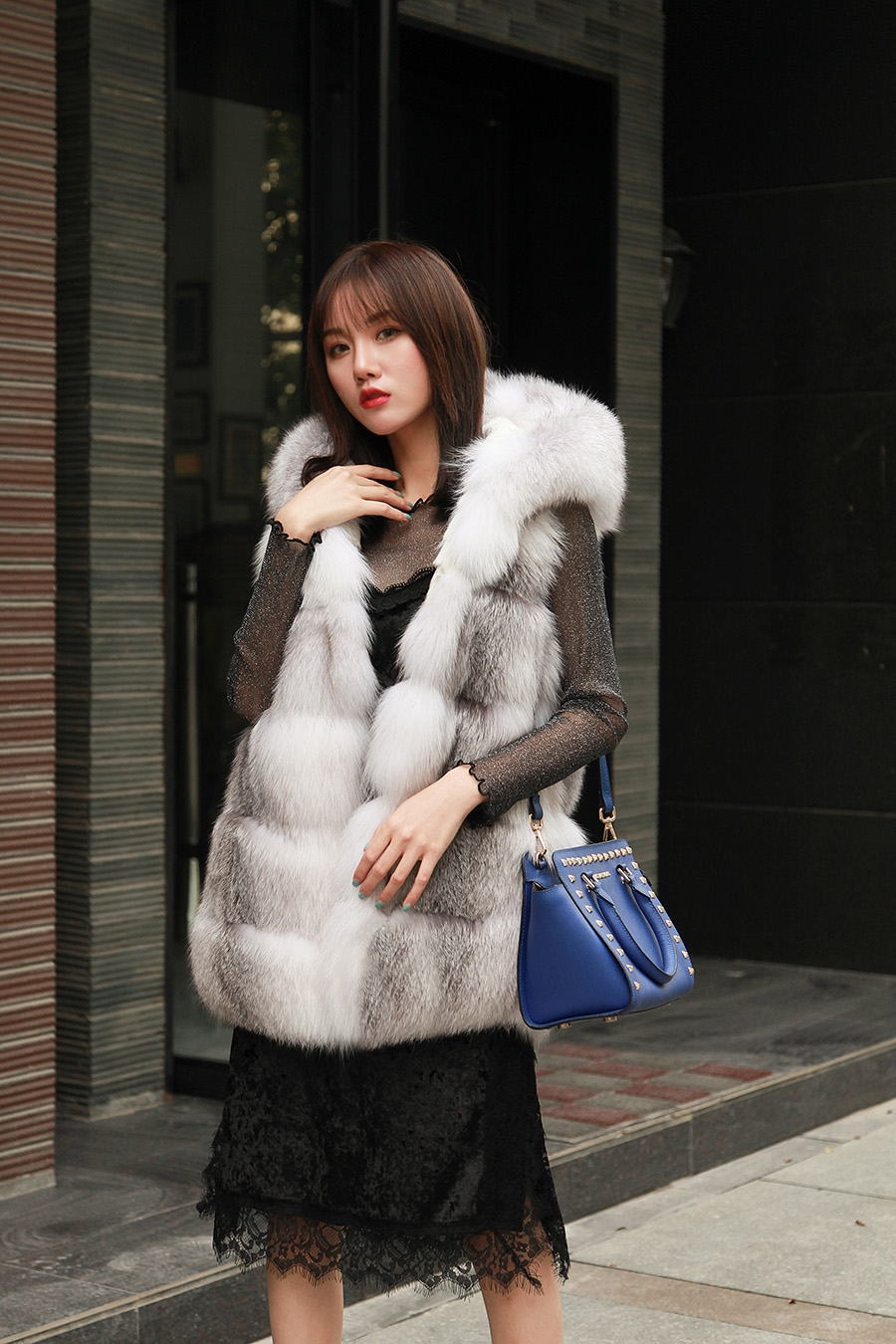 Shadow Blue Frost Fox Fur Hooded Vest 0003-7