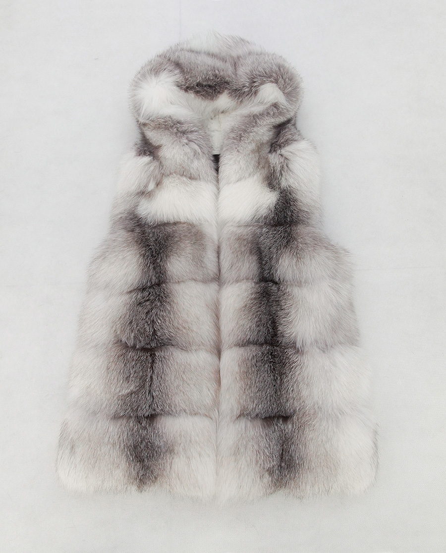 Shadow Blue Frost Fox Fur Hooded Vest 0003-9
