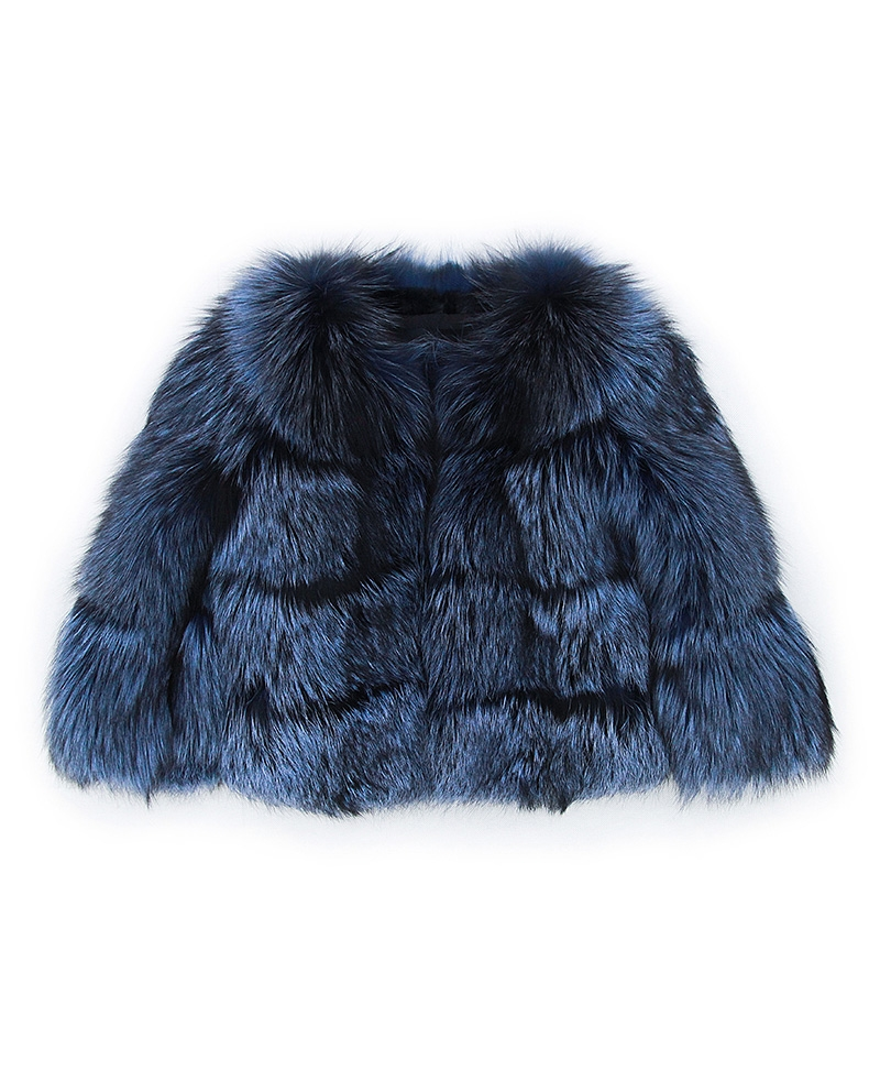 Cropped Silver Fox Fur Jacket in Blue 0005-1