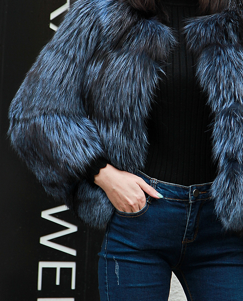 Cropped Silver Fox Fur Jacket in Blue 0005-10