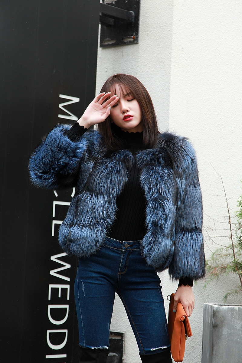 Cropped Silver Fox Fur Jacket in Blue 0005-11
